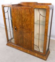 Walnut Three Door Display Cabinet Bookcase